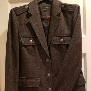 Wool blend light coat with silver buttons
